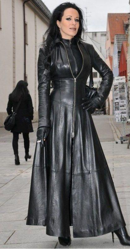Woman Leather Coat Corset Black Full Length Ledermantel Leder Mantel  Korsett S38