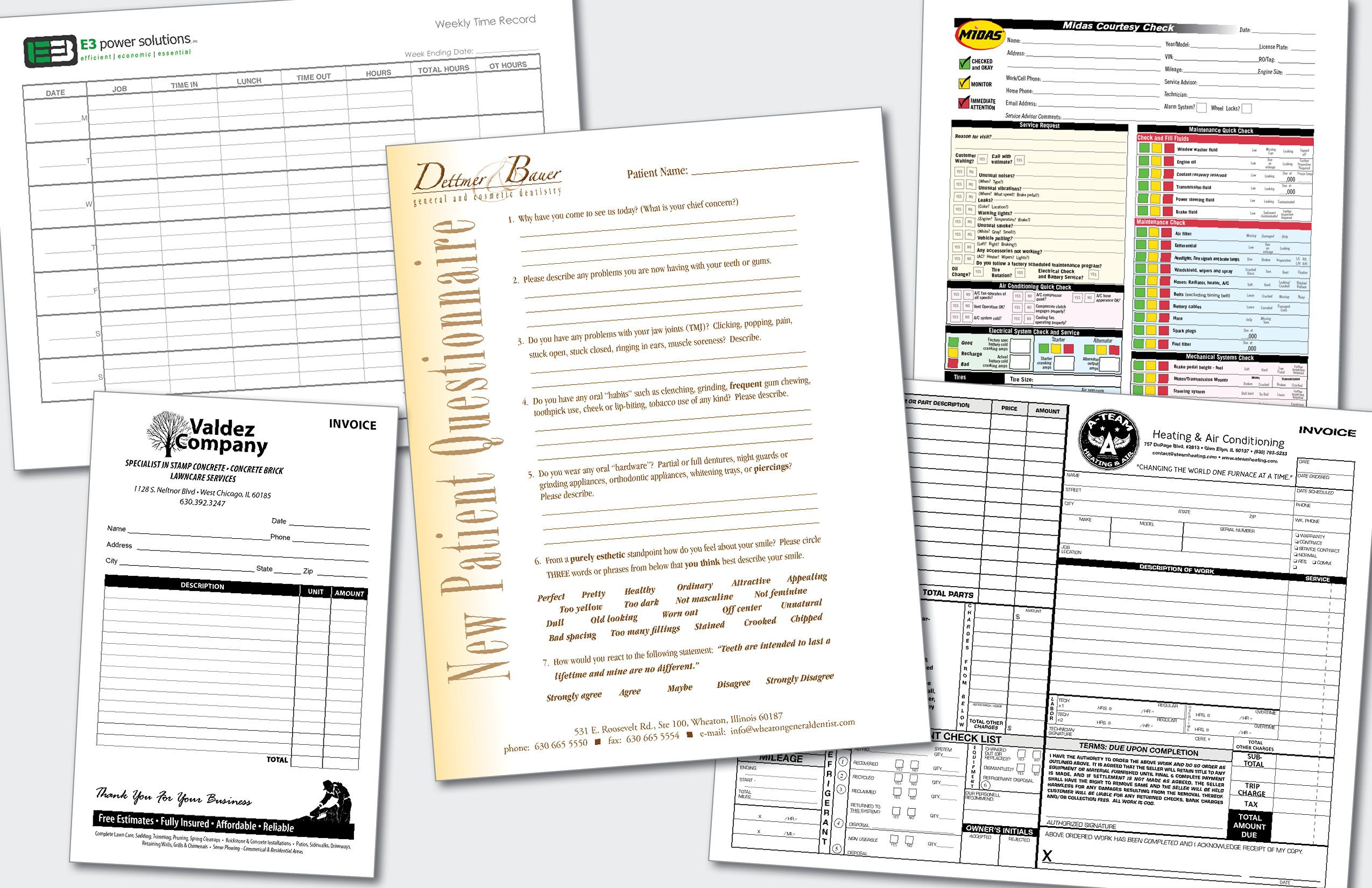 select a form template from our catalog or let us design a form
