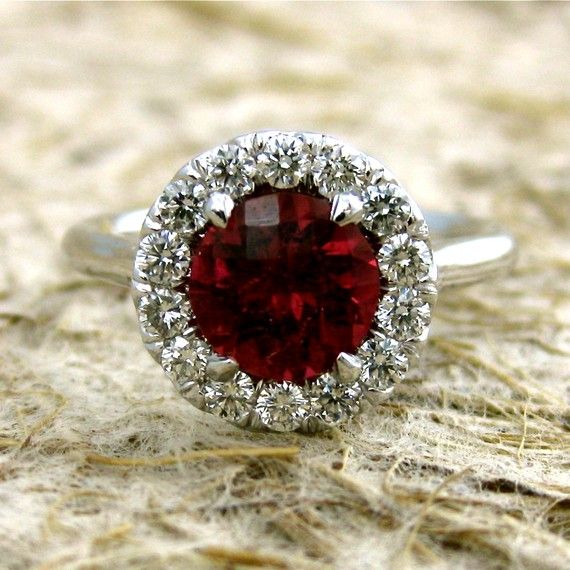 Photo of Items similar to Scarlet Red Garnet Engagement Ring with Diamonds in 14K White Gold Classic Halo Style Setting Size 6 on Etsy