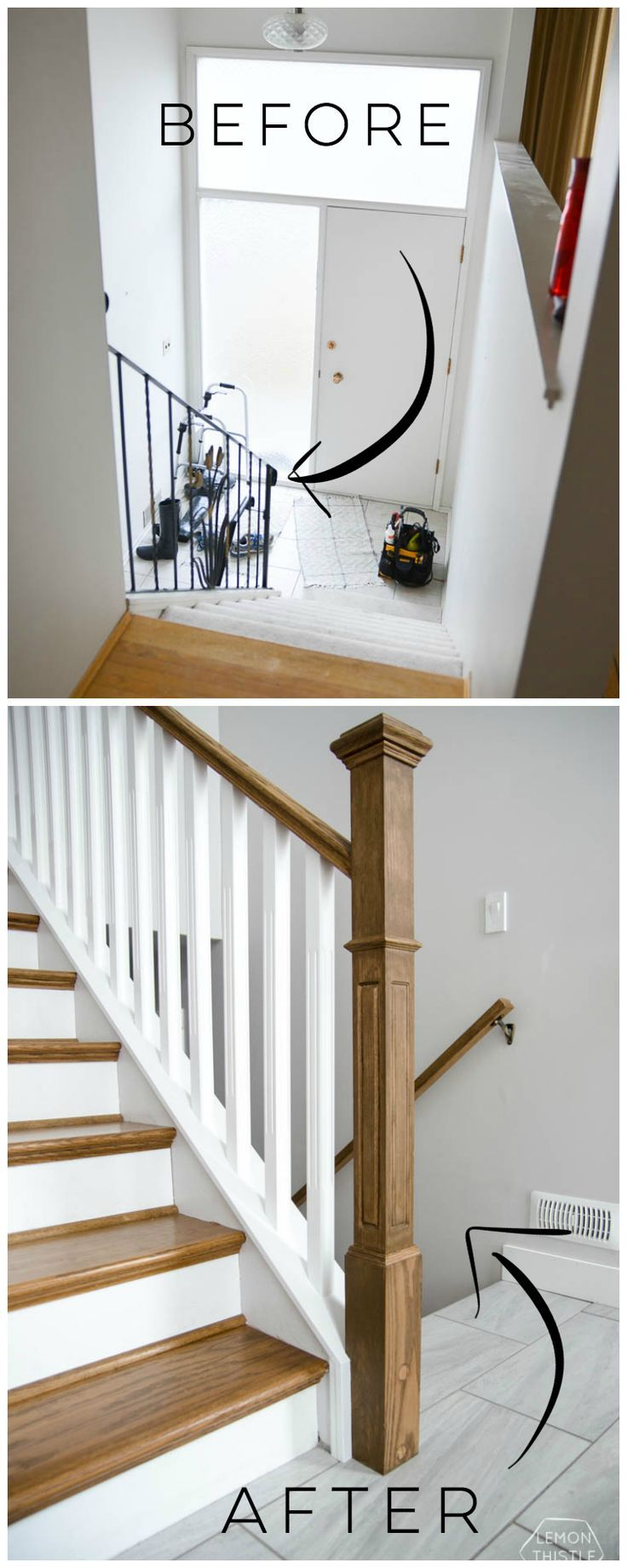 How to install a wooden handrail on split level stairs | House ...