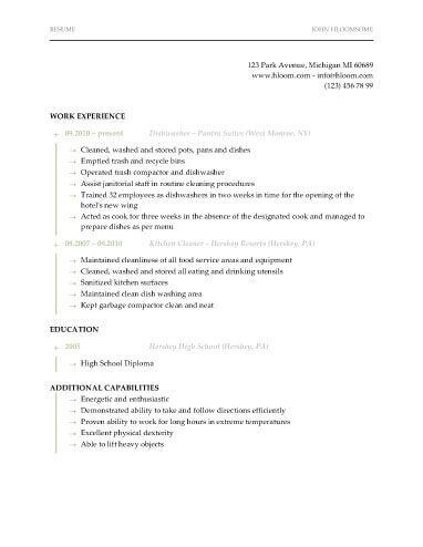 Dishwasher Resume Recipes Student Resume Resume