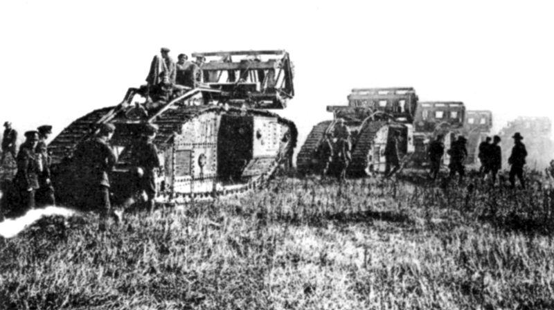 Column of British Mk 5 tanks.