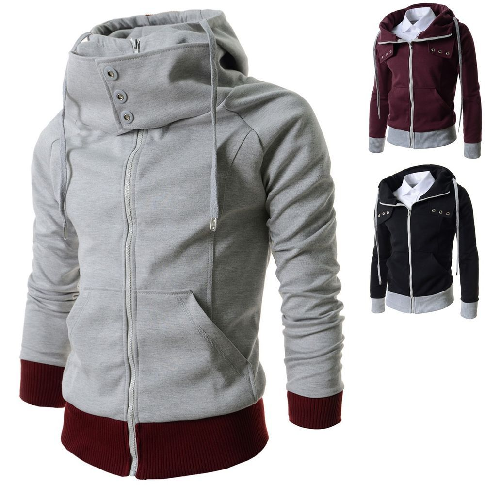 Mens Funnel Neck Hooded Jackets Zip Up Hoodies Athletic