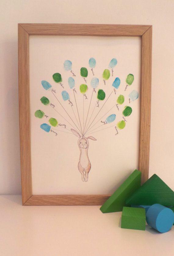 Babyparty-Andenken-Kunst, Kaninchen, das Daumen / Fingerabdruck-Ballone, Babypartyaktivität, Kinderzimmerkunst, Babydekor, kundenspezifische Kunst A4or8x10ir hält