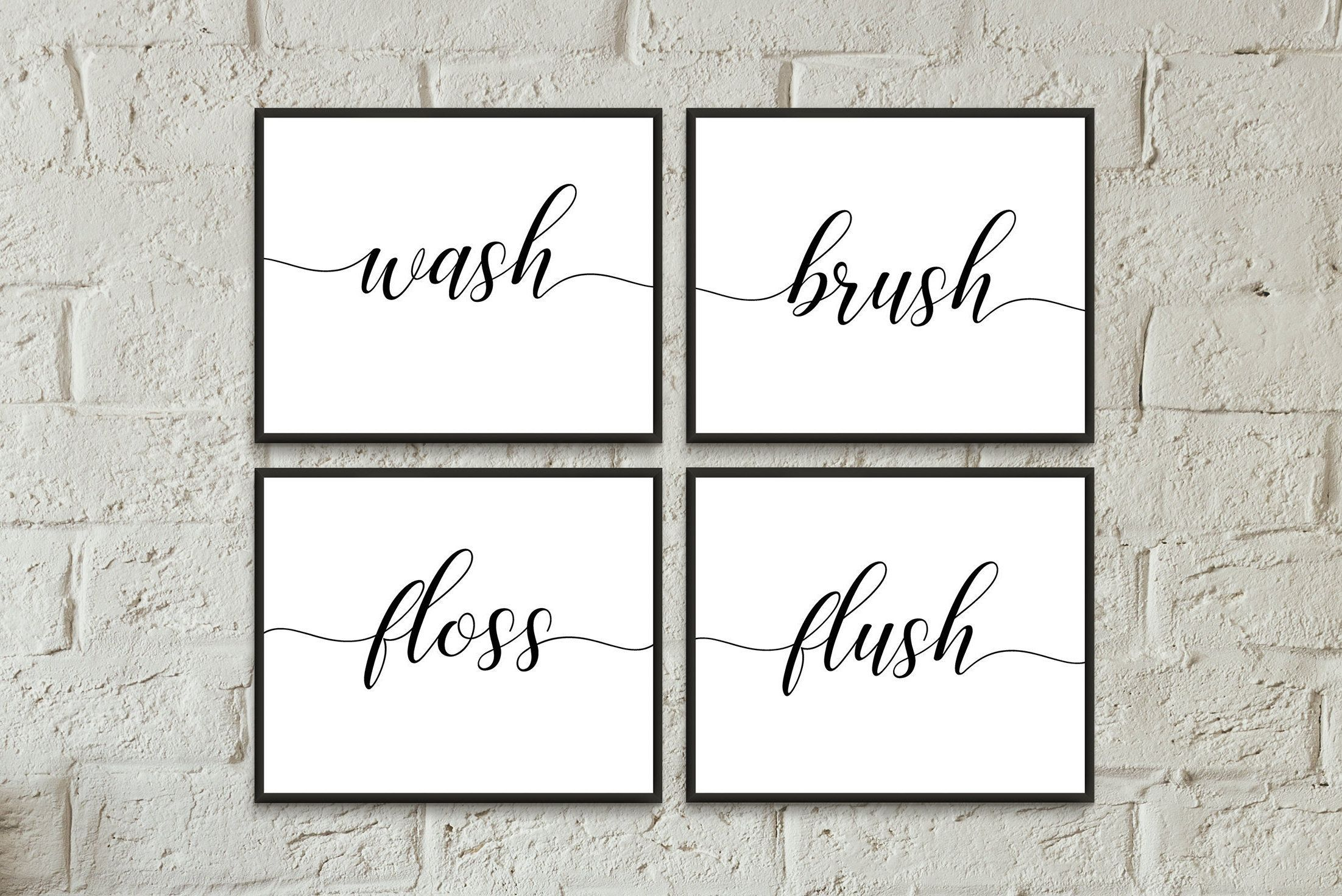 Wash Brush Floss Flush Printable Bathroom Wall Art Digital Etsy