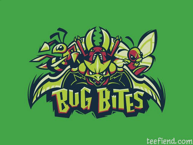 """Bug Bites"" by Kari Fry is only $11 today at The Yetee http://www.teefiend.com/1592/team-bug-types-bug-bite/"