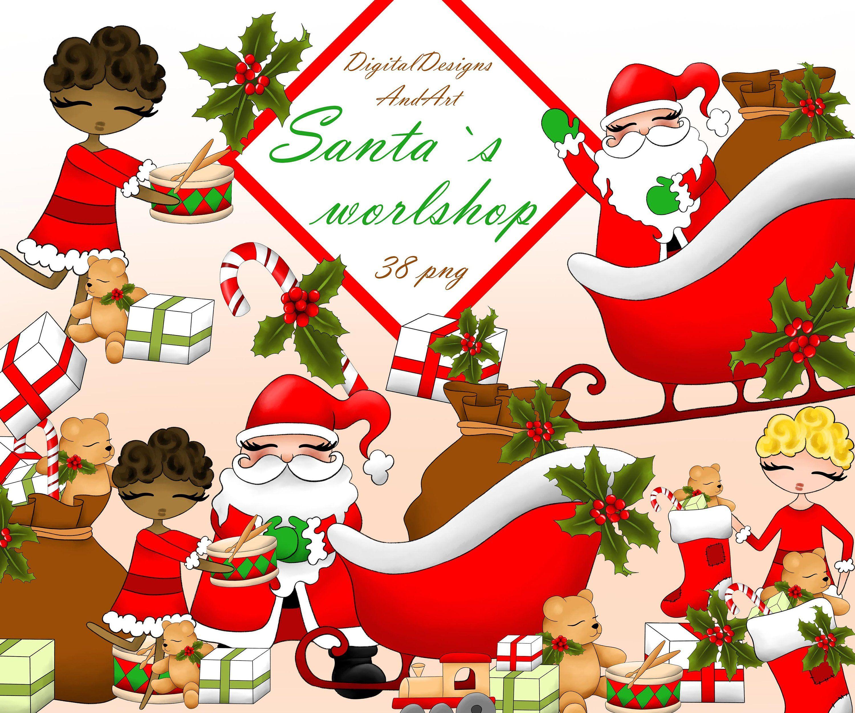 Santa Clipart Santa Workshop Clipart Santa Illustration Etsy Christmas Clipart Santas Workshop Clip Art