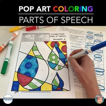 Parts Of Speech Pop Art Coloring Pages Make Learning And Reviewing Grammar A Lot Of Fun Included Are Parts Of Speech Middle School Writing Grammar Activities