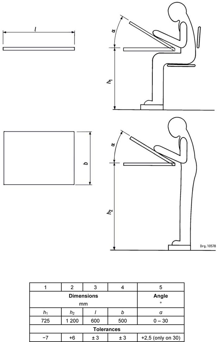 Figure 5 a dimensions of a2 drawing tables cocina for Blueprint size paper