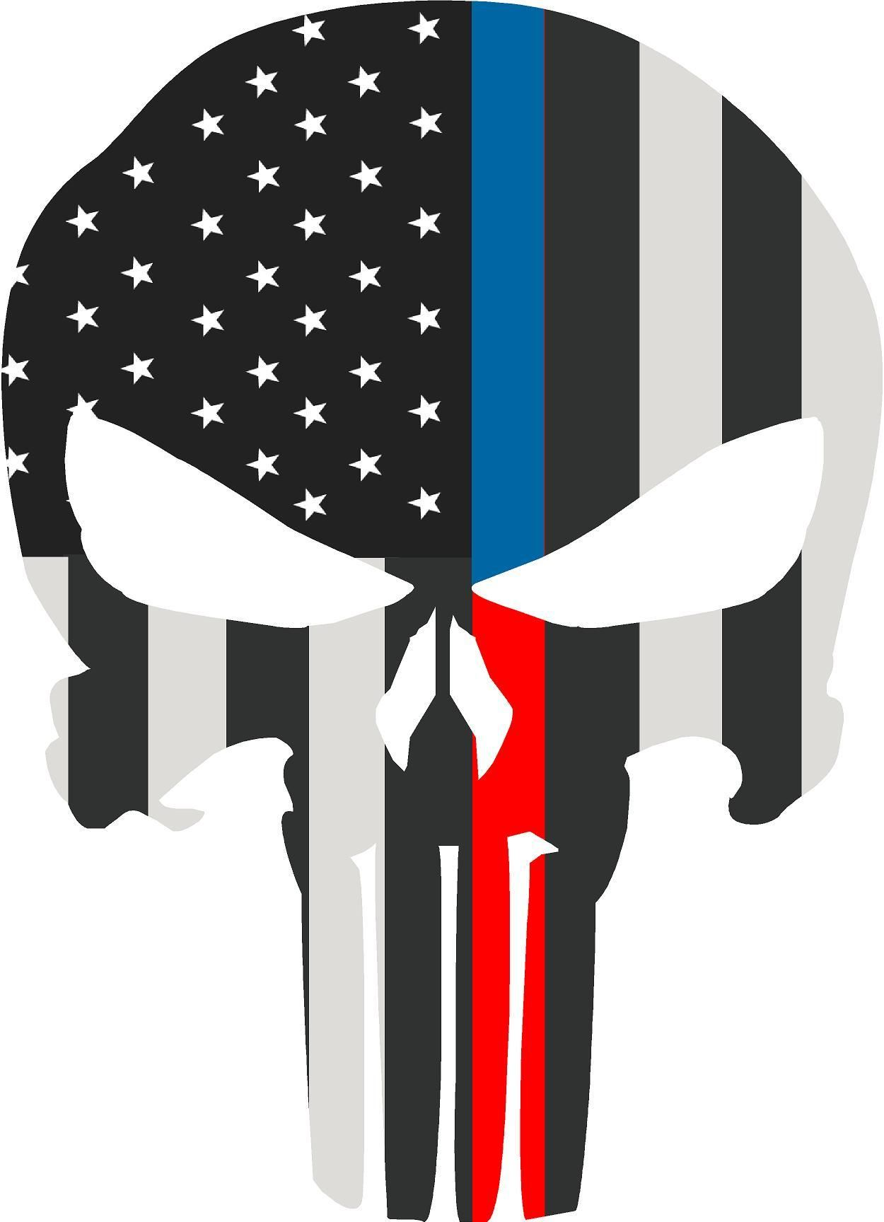 5 skull punisher bw thin blue red line shape sticker decal