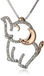 "Sterling Silver, 14k Rose Gold, and Diamond Elephant Pendant Necklace (1/17 cttw, I-J Color, I3 Clarity), 18""Available at joyfulcrown.com"