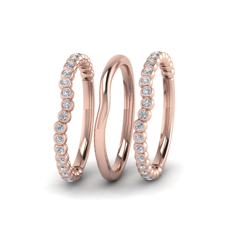 Curved Stackable Diamond Womens Wedding Band In 14k Rose Gold Womens Wedding Bands Diamond Wedding Bands Eternity Band Diamond