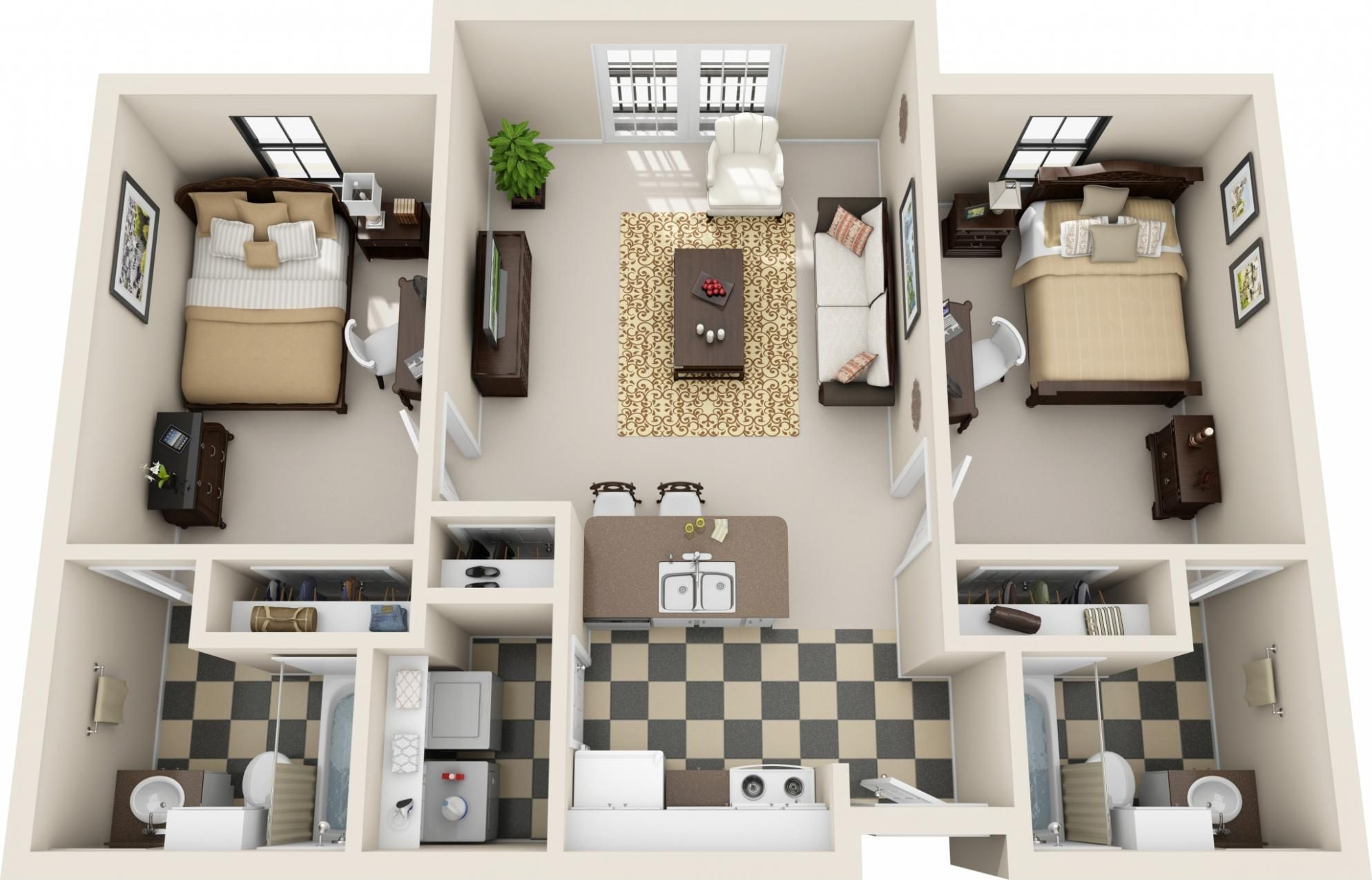 Bed 2 Bath 830 Sq Ft Floor Plan La Apartment