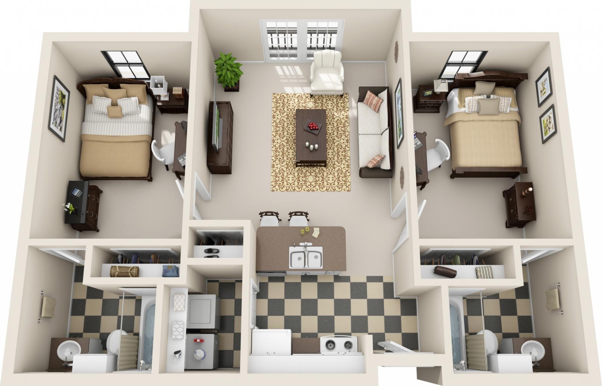 Bed 2 Bath 830 Sq Ft Floor Plan 2 Bedroom Apartment One