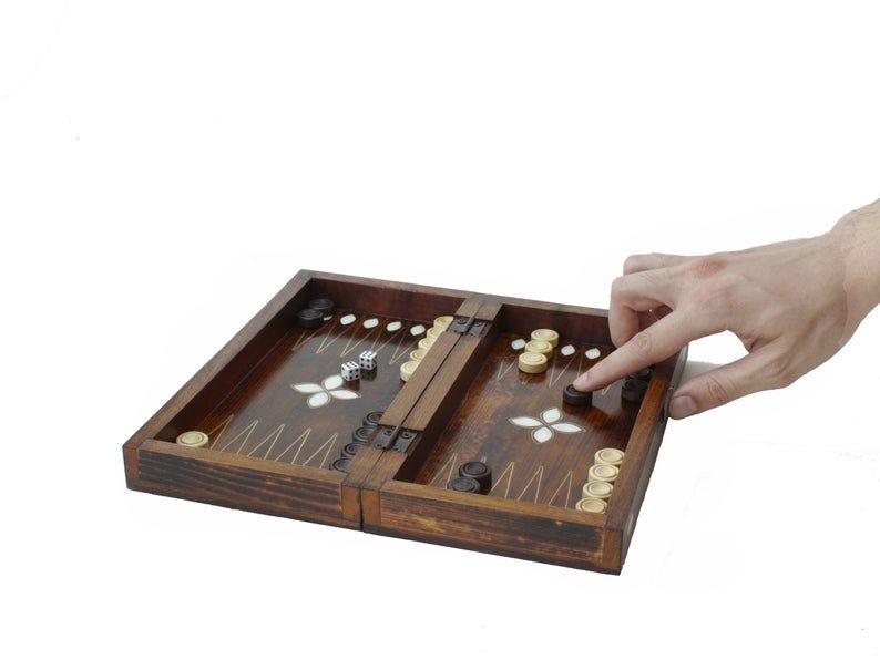 Mini Size Wooden Handmade Backgammon Set Backgammon Board Game