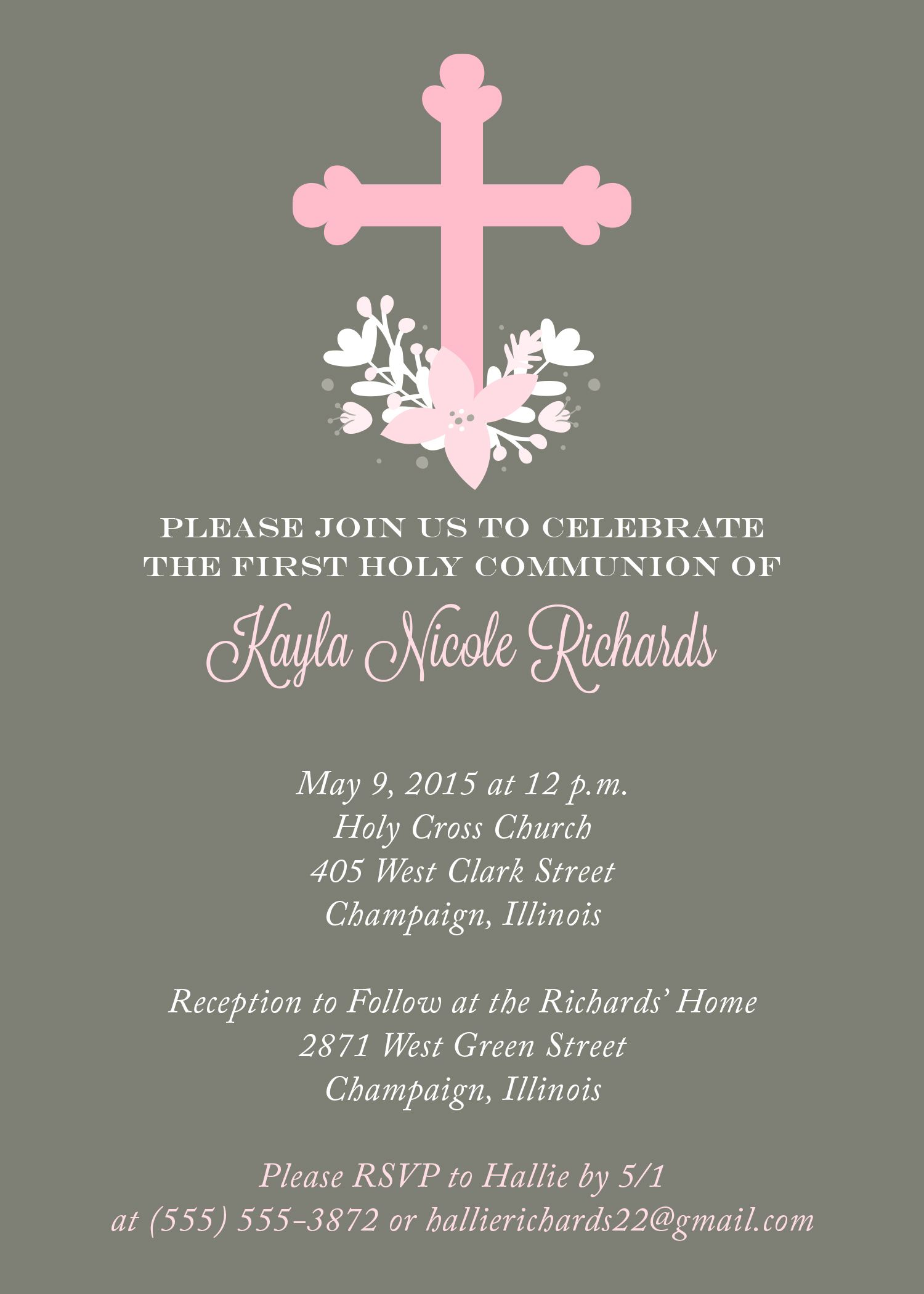 First communion invitation from httpreplybyoccasions