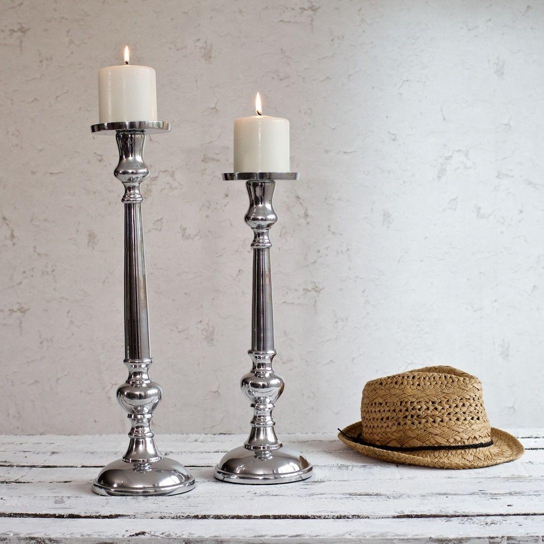 Prezola zaza homes classic silver candle holder medium zaza