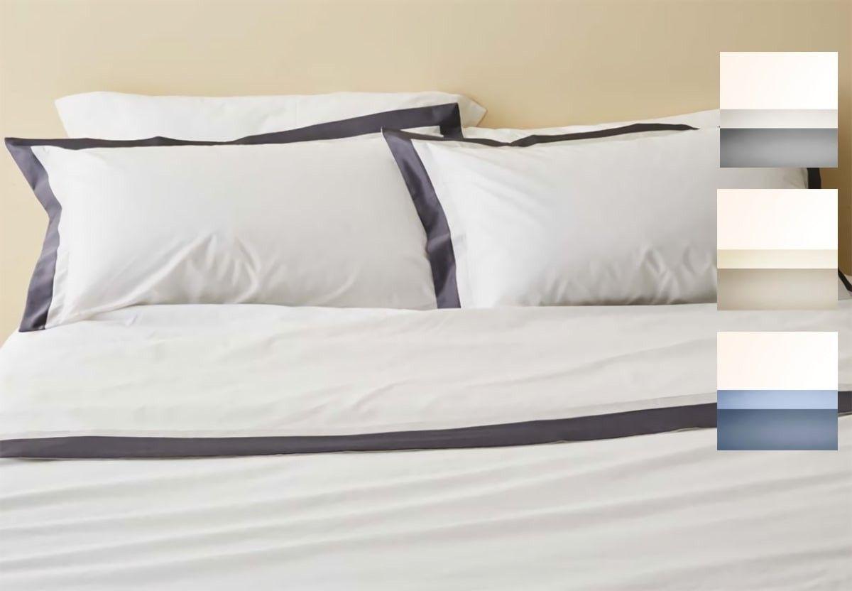 Completi Lenzuola Matrimoniali Economici.Set Lenzuola Twin Puro Cotone Con Doppia Balza In Raso Bianco