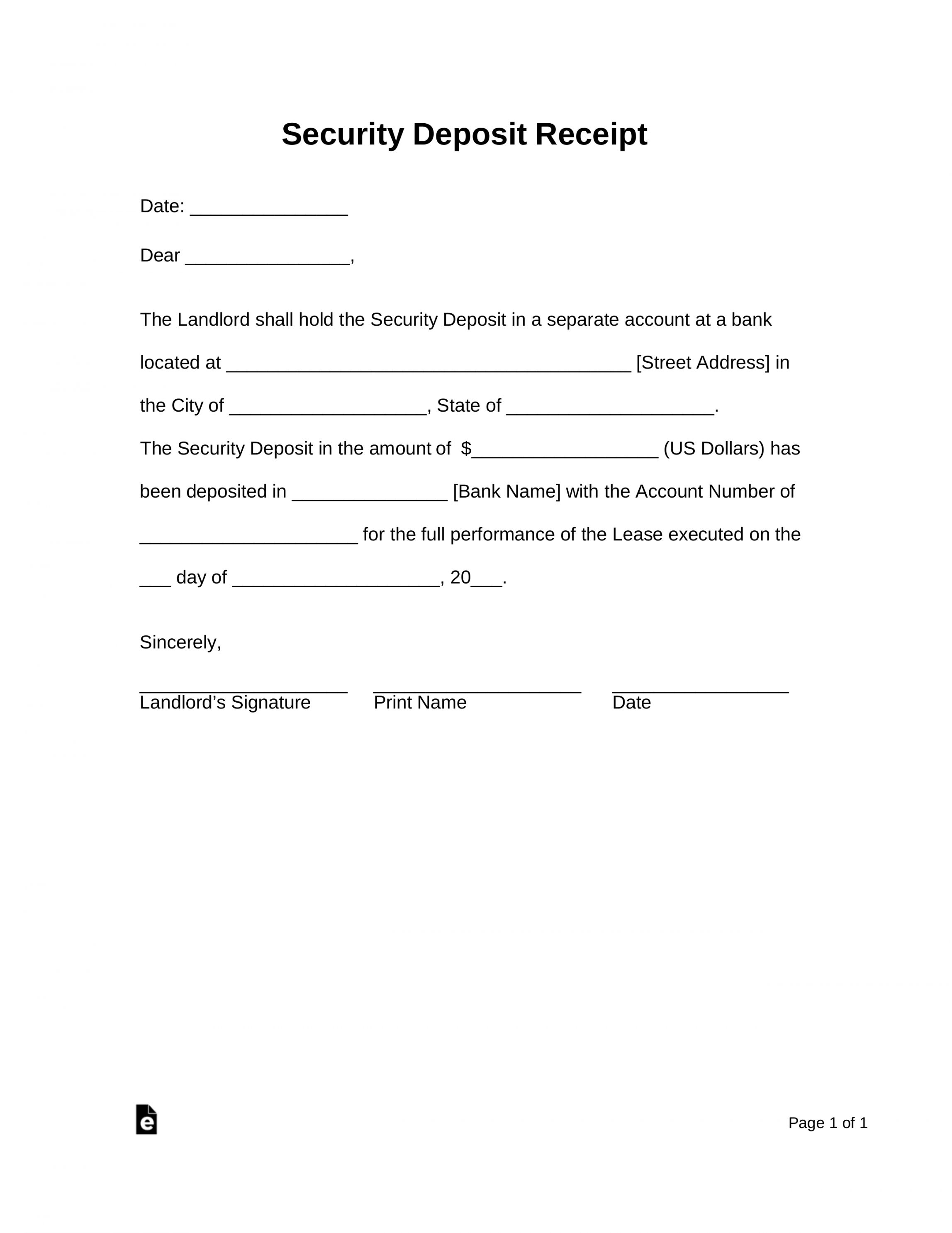 Browse Our Printable Real Estate Deposit Receipt Template Receipt Template Being A Landlord Letter Templates