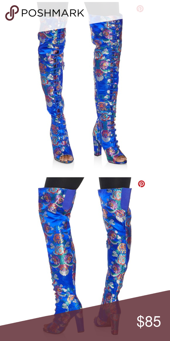 f691a3706939a Brand new blue patterned boots Brand new patterned boots with design 😍over  the knee very comfortable fit Open toed Rainbow Club Shoes Over the Knee  Boots