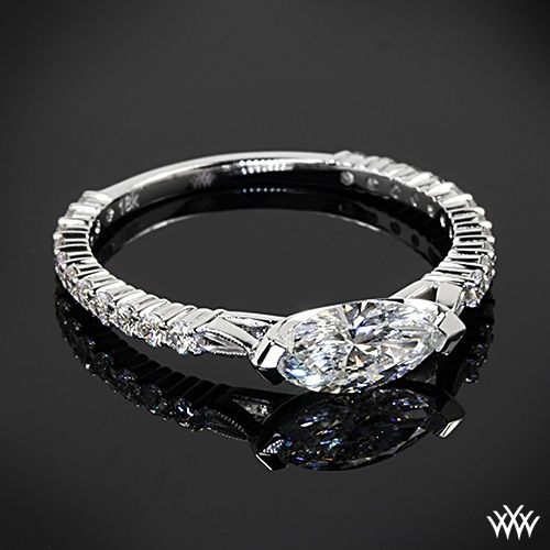 East West Bands: 18k White Gold Custom East-West Diamond Marquise