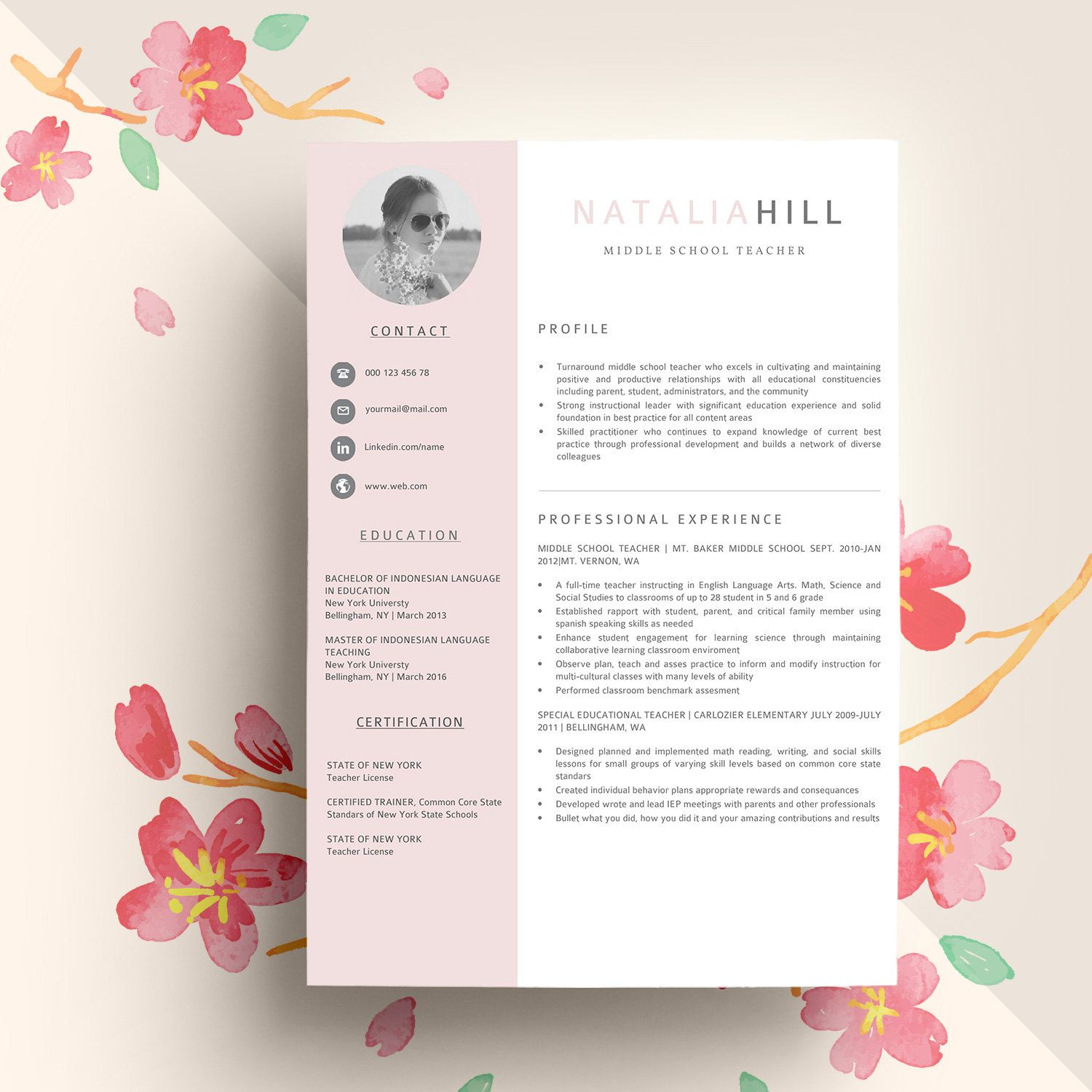 Modern resume template for word free cover letter social icons modern resume template for word free cover letter social icons modern cv template yelopaper Gallery