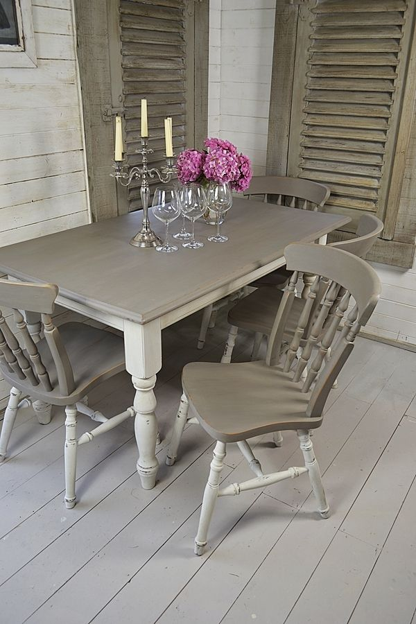 Grey And White Shabby Chic Dining Table With 4 Chairs