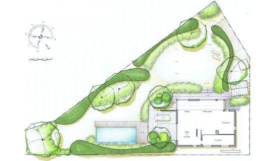 Jardin triangulaire à Nivelles avec piscine | Planting design ...