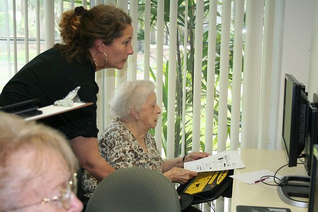 Leslie provides eBook training while on the road via the Bookmobile.