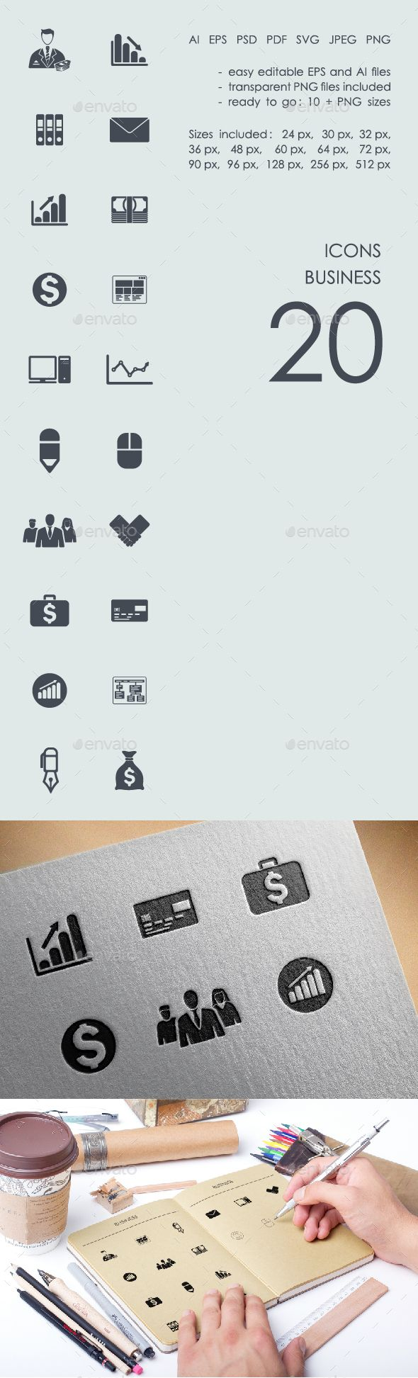 Business icons App template design, Android app design
