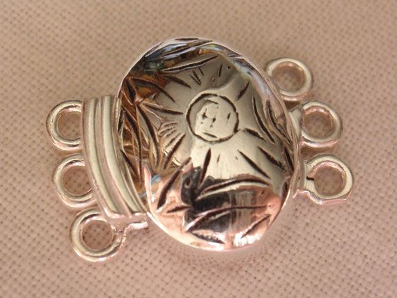 Sterling Silver Box Clasp Small Oval Triple Strand by cutterstone, $17.00