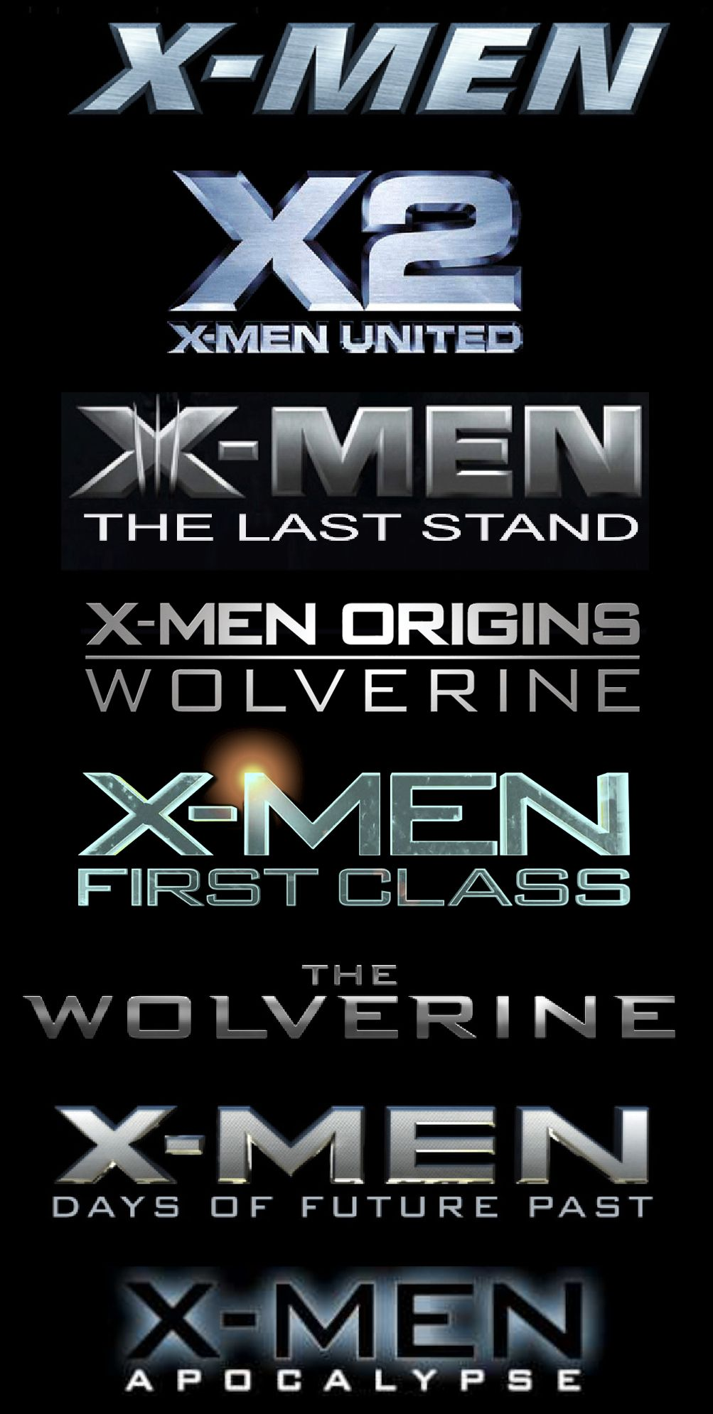 xmen movie list Google Search Xmen movies in order
