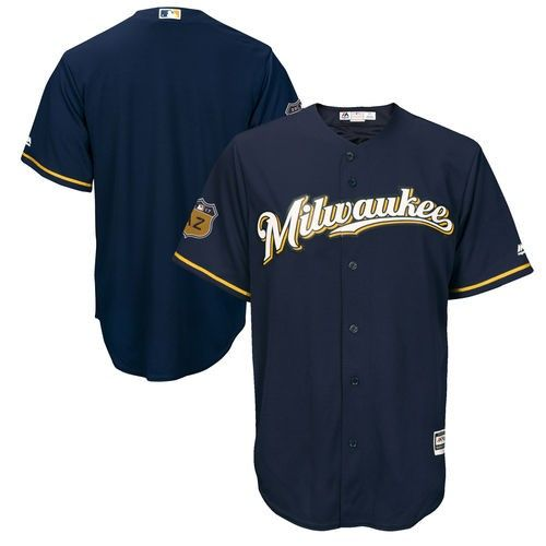 a68f46de3 Men's Majestic Navy (Blue) Milwaukee Brewers 2017 Spring Training Cool Base  Team Jersey