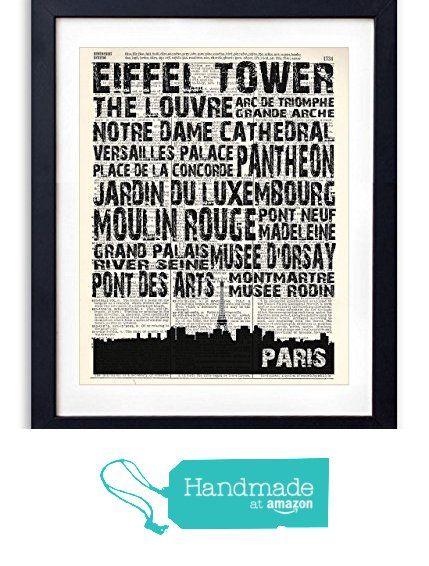 Paris Landmarks Skyline and Typography Dictionary Art Print 8x10 from Vintage Book Art Co. http://www.amazon.com/dp/B015GKVM4G/ref=hnd_sw_r_pi_dp_ho7-wb0H1SFH8 #handmadeatamazon