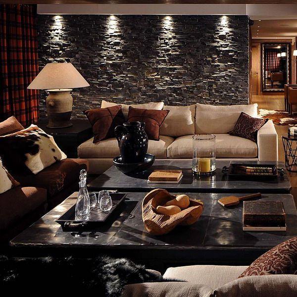 Luxury Living Room Style In Modern Chalet SteinwandWohnzimmerLuxus WohnzimmerWohnzimmer