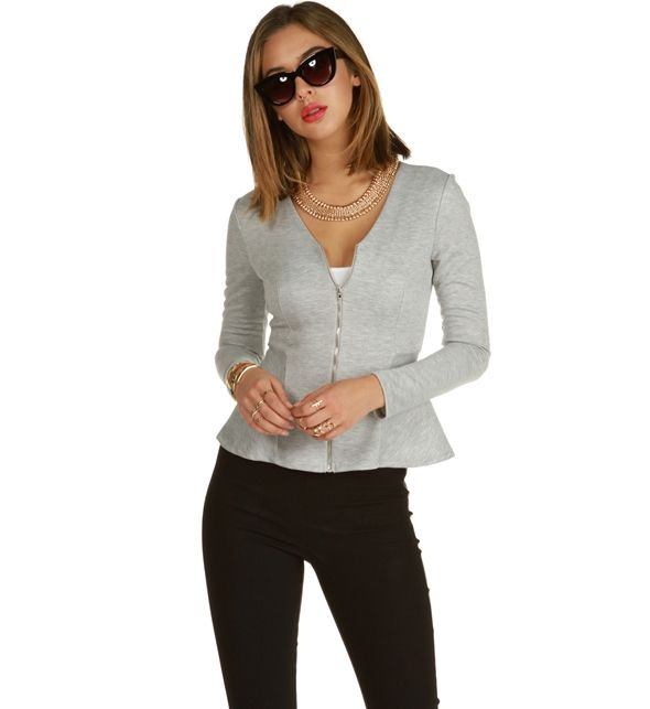 Heather Gray Talk Peplum Jacket at WindsorStore