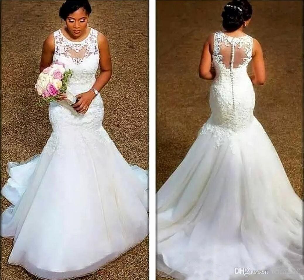 Dhgate Wedding Dress Reviews 2014 Unique African 2019 Sheer Neck Plus Size Wedd In 2020 Backless Mermaid Wedding Dresses Lace Mermaid Wedding Dress Sheer Wedding Dress