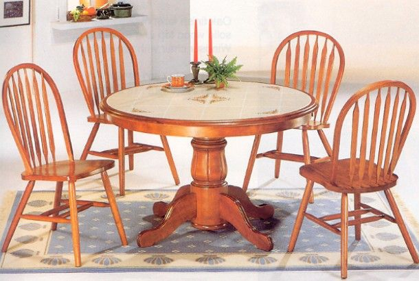 Oak Tile Wood Round Pedestal Dining Table with Windsor Chairs ...