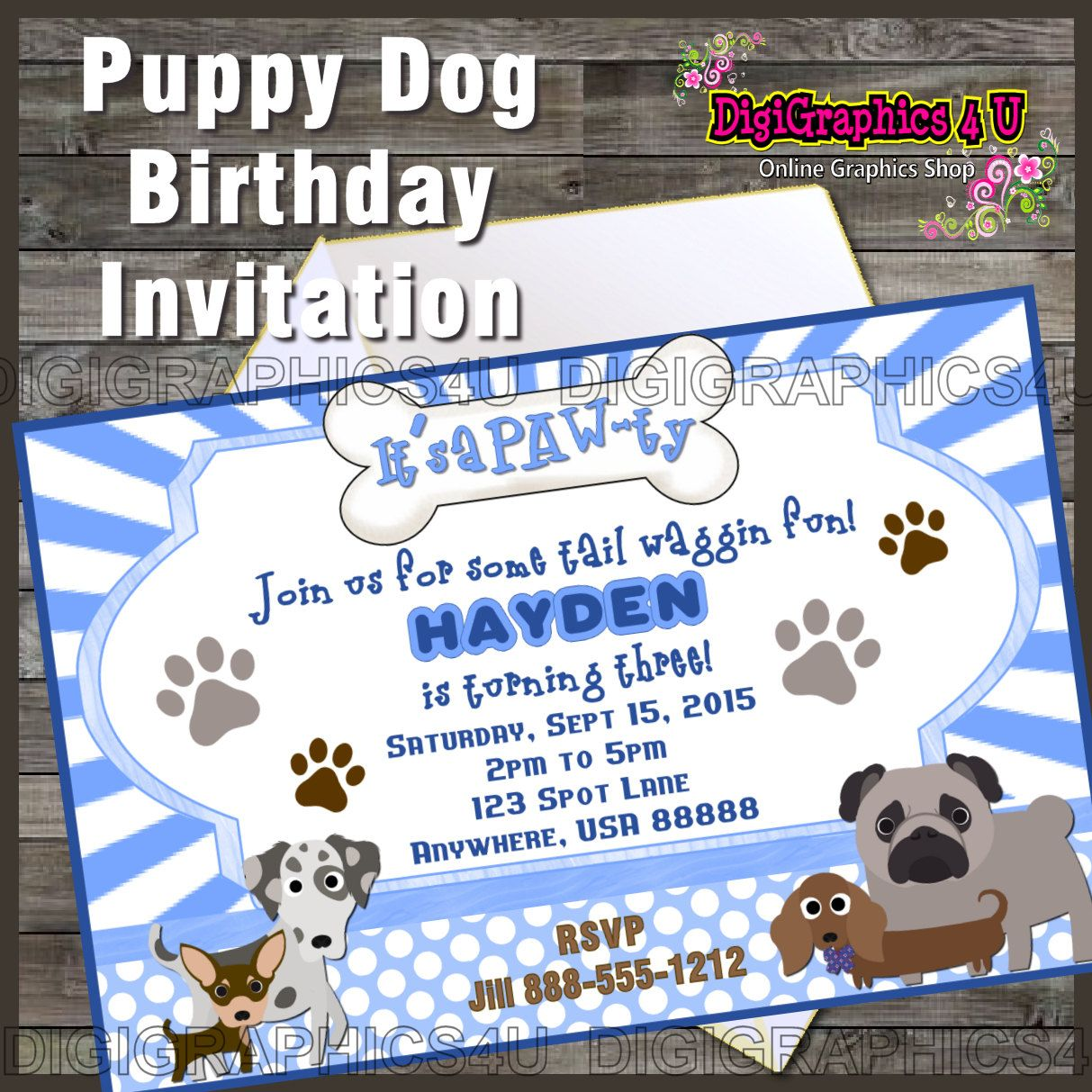 Cute Personalized Boys Puppy Dog Themed Printable Birthday Invitation Digital File By DigiGraphics4u On Etsy Party