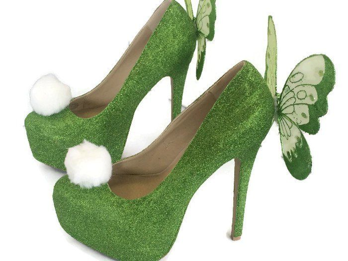 Green sparkly Tinkerbell shoes, no big