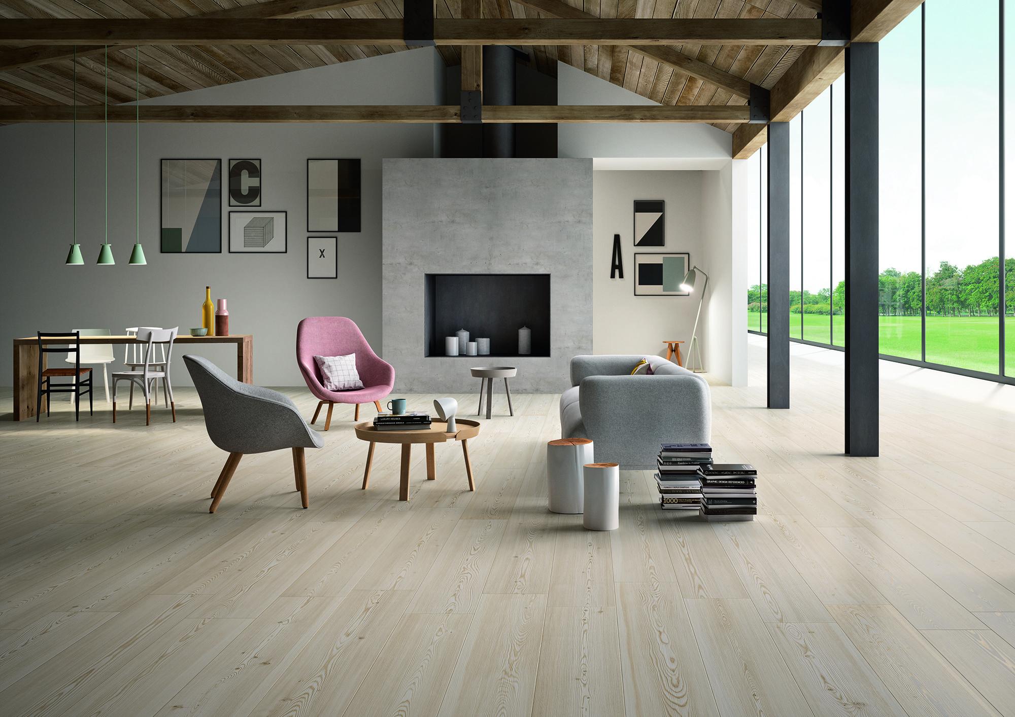 Marazzi treverktrend woodtiles floor livingroom