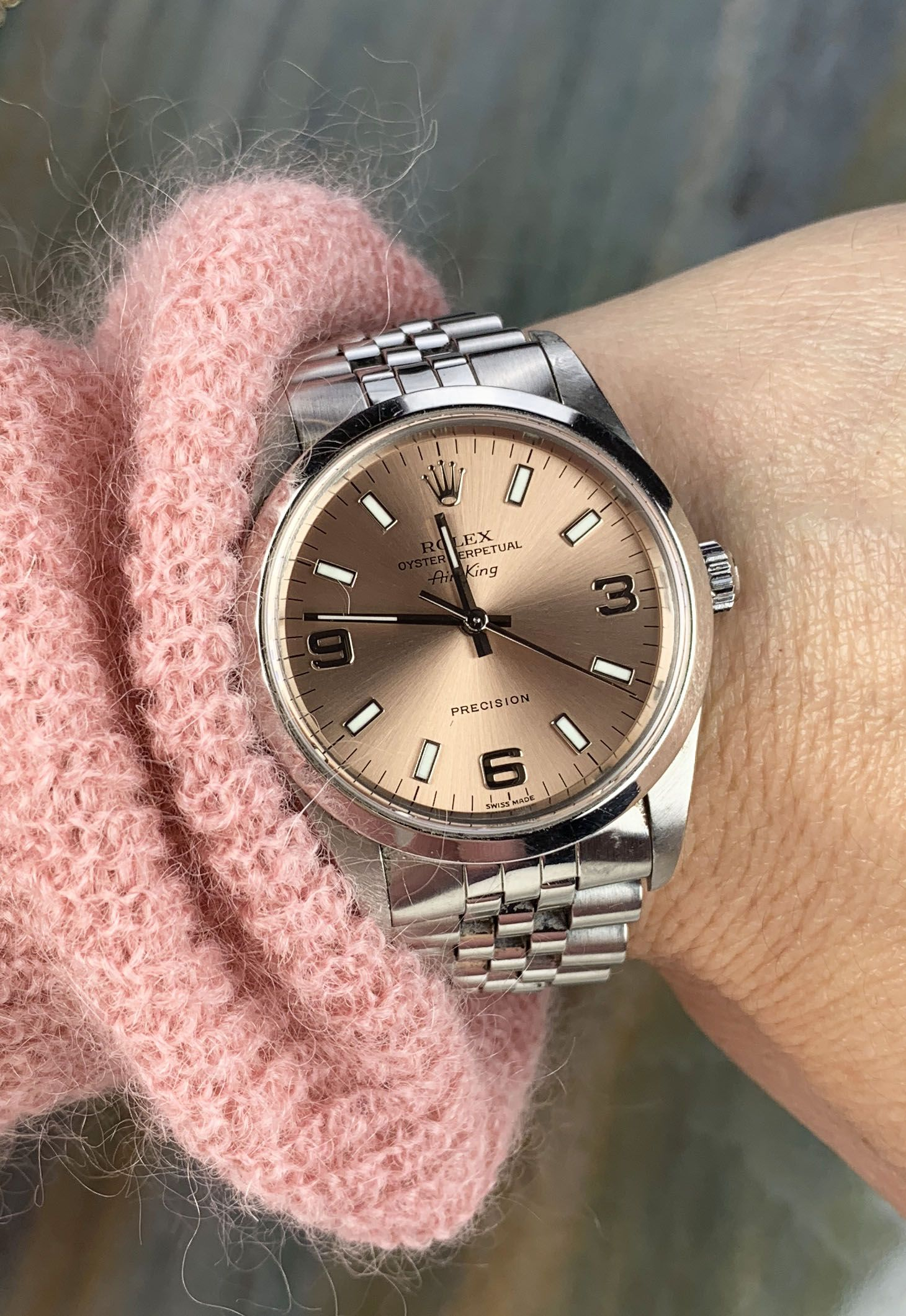 Pretty in pink! We love this Rolex 34mm stainless steel