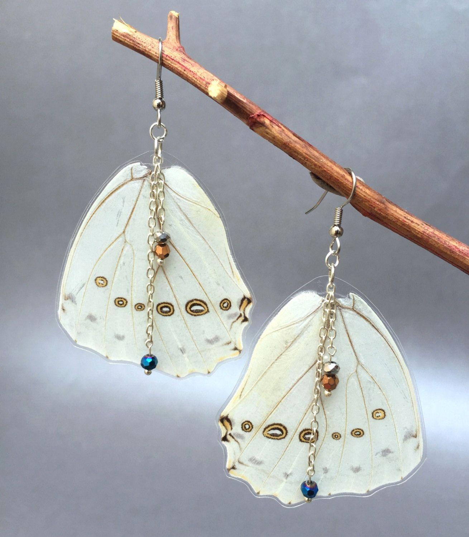 Real Butterfly  Wings, White Morpho Earrings.  Laminated White Morpho Earrings and Beads by BioArteNatureJewelry on Etsy