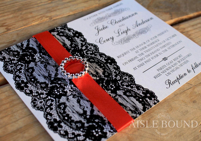Vintage Hollywood • Wedding Invitation • Metallic Red Envelope ...