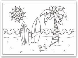 Paginas Para Colorir No Tema Praia Ideal Distrair As Criancas Pequenas Em Uma Festa De Aniversario Nesse