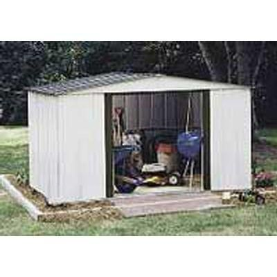 Arrow Newport 10 Ft W X 8 Ft D 2 Tone Eggshell And Coffee Galvanized Metal Shed With Galvanized Steel Floor Frame Kit Np10867 The Home Depot Steel Sheds Metal Shed Shed