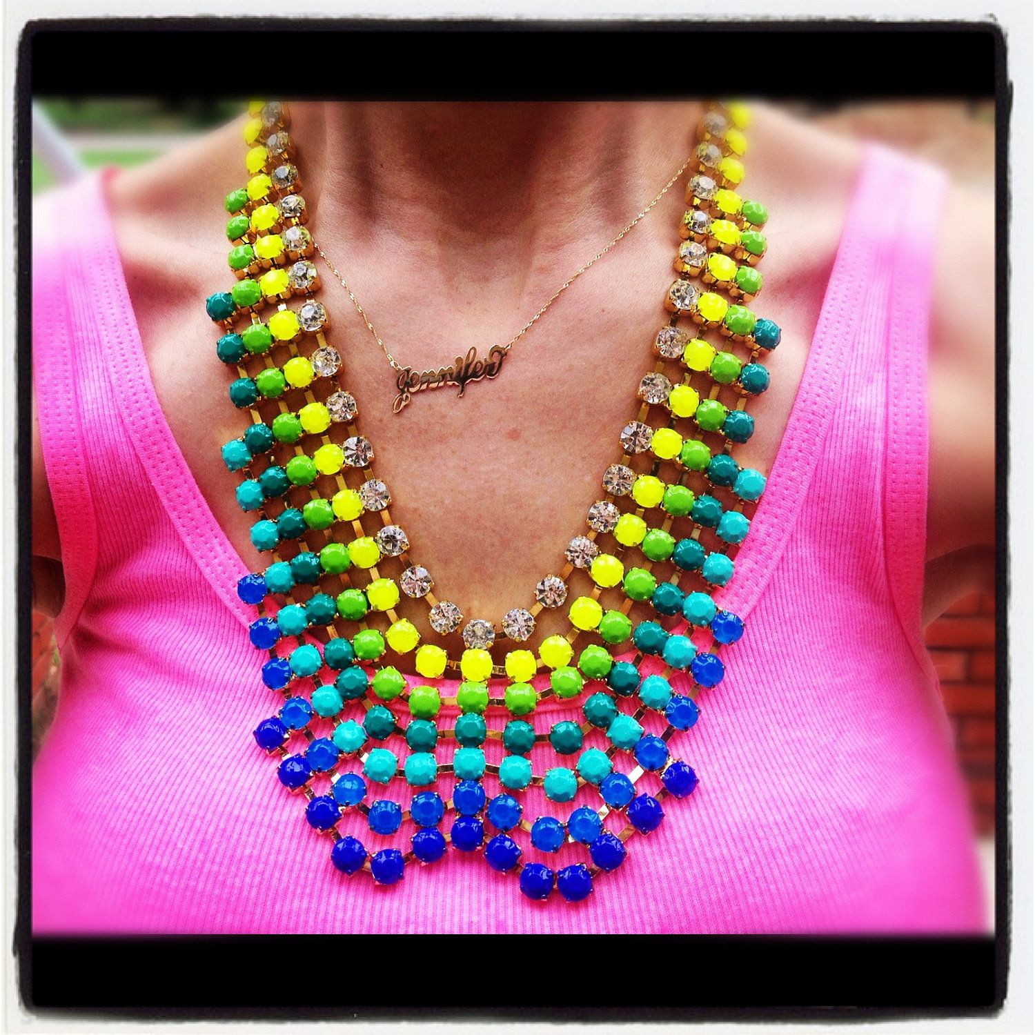 CUSTOM Huge Rhinestone Bib Statement Necklace - Belle de Couture