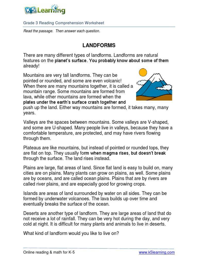 Landforms 3rd Grade Worksheets   Reading skills worksheets [ 1024 x 768 Pixel ]