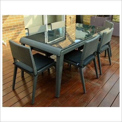 Charcoal Wicker 7 Piece Rectangular Dining Set By Designs