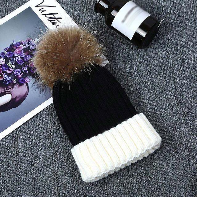 1629edf9a0e Fashion Women Faux Fur Ball Cap Pom Poms Winter Hat Knitted Thick Warm  Beanies Caps JL